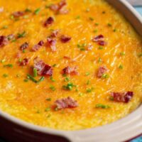 Cheesy Baked Grits with Bacon and Chives