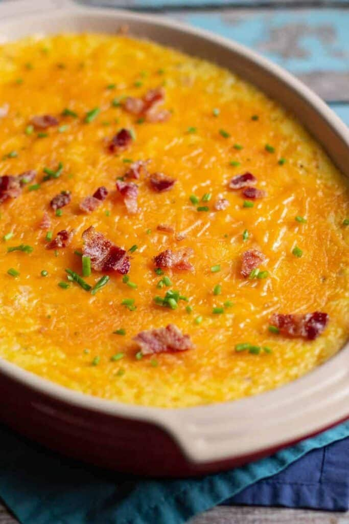 Cheesy Baked Grits with Bacon and Chives | A Nerd Cooks
