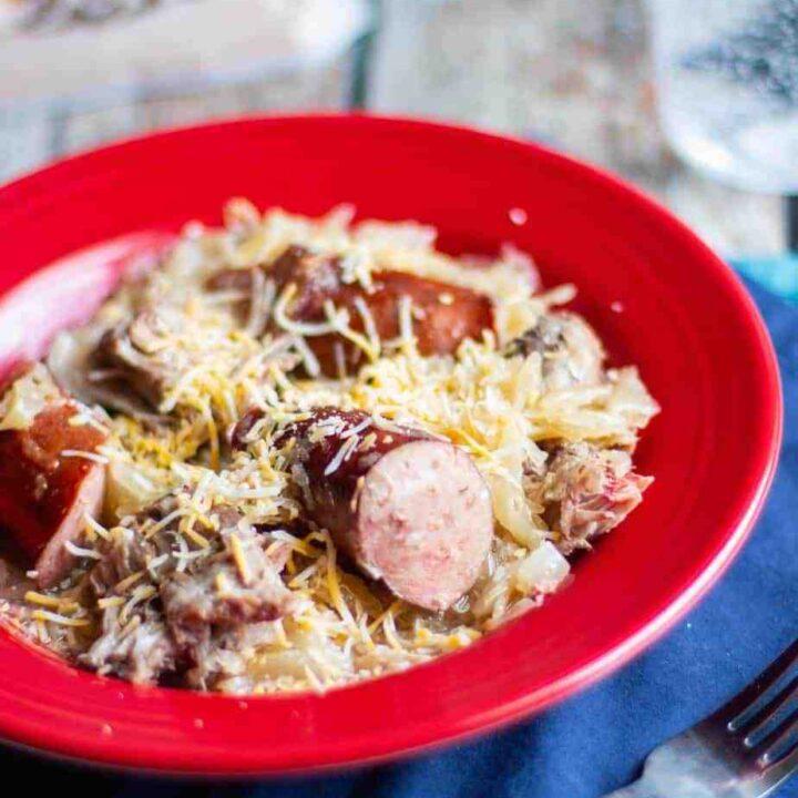 Slow Cooker Kielbasa, Pork, and Sauerkraut | A Nerd Cooks