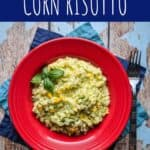 pinterest pin for avocado and corn risotto