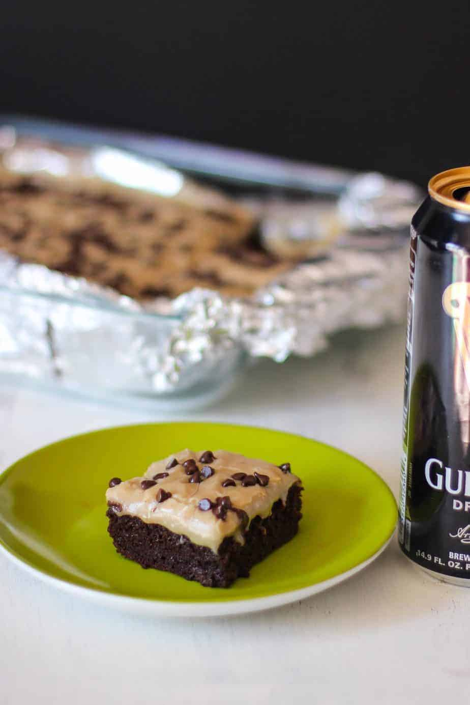 Guinness Brownies with Caramel Fudge Frosting | A Nerd Cooks