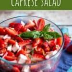 pinterest pin for strawberry caprese salad