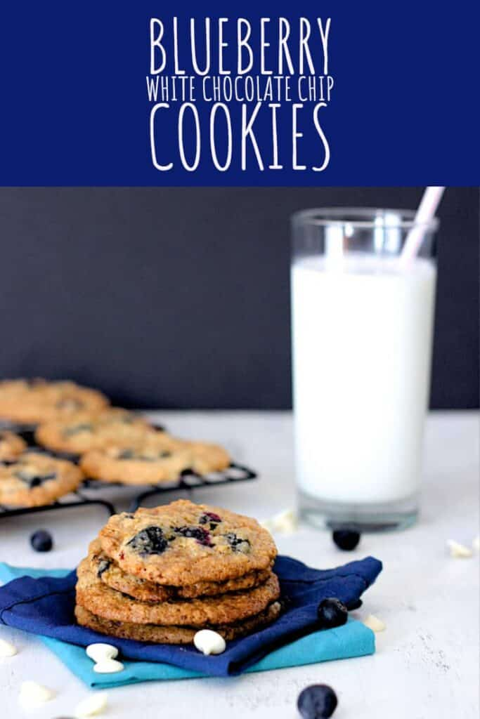Chewy cookies packed full of white chocolate chips and fresh blueberries