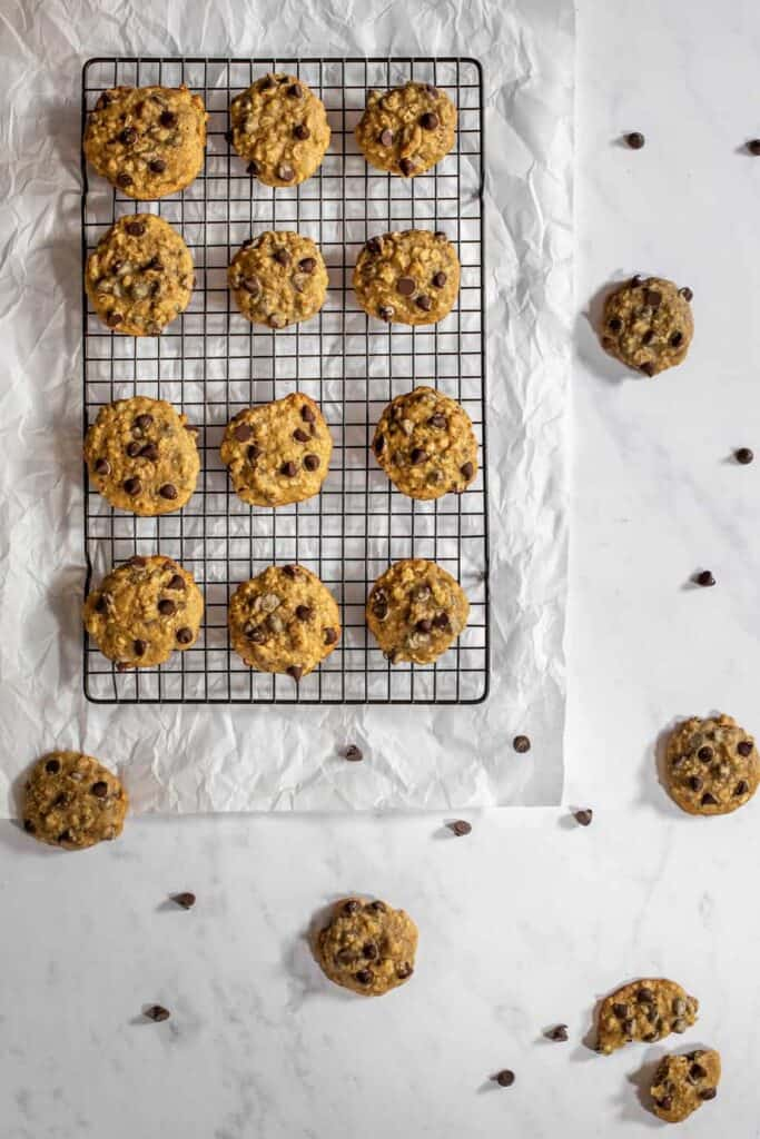 chocolate chip banana bread cookies, on a cooling rack, viewed from above