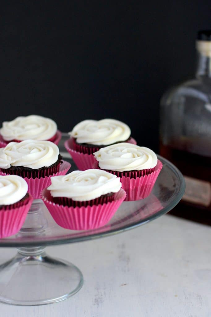 Dark Chocolate Cupcakes with Bourbon Buttercream | A Nerd Cooks