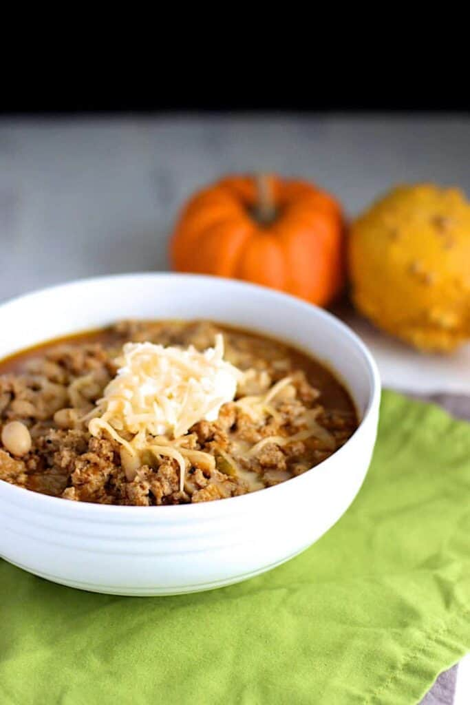 Turkey White Bean Pumpkin Chili | A Nerd Cooks