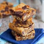 Salted Dark Chocolate Dulce de Leche Blondies | A Nerd Cooks