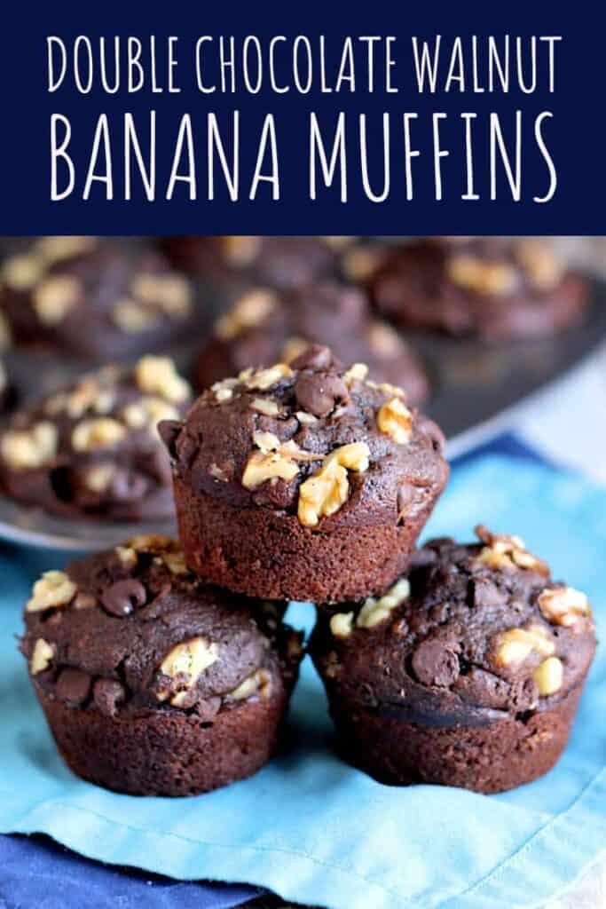 Double Chocolate Walnut Banana Muffins | A Nerd Cooks