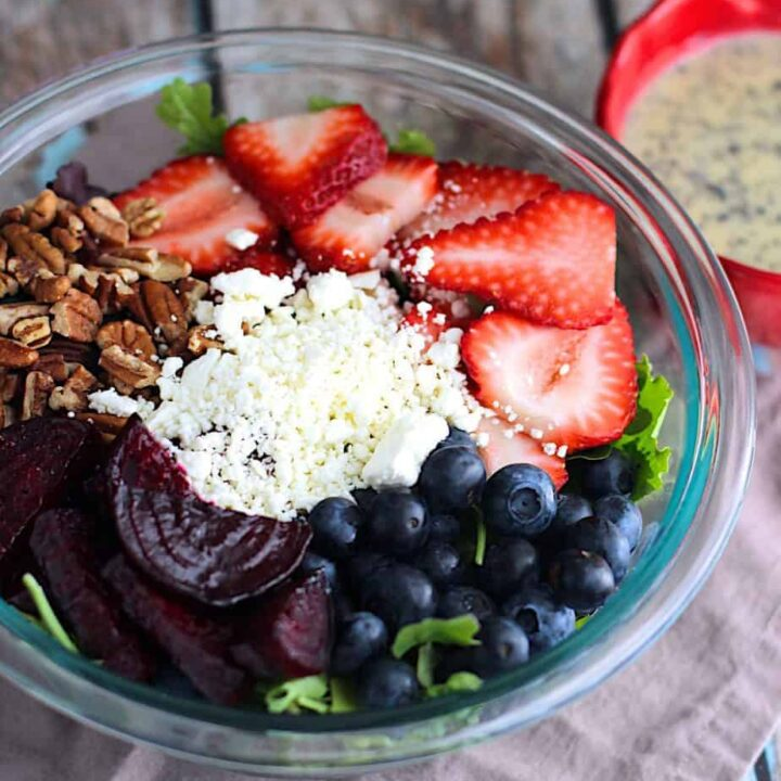 Strawberry Pecan Salad with Beets and Poppyseed Dressing | A Nerd Cooks