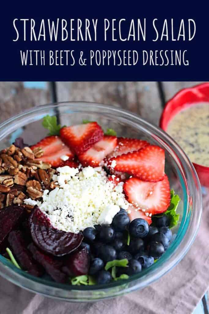 Berry Pecan Salad with Beets and Poppyseed Dressing | A Nerd Cooks