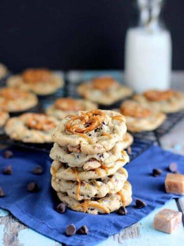 Salted Caramel Pretzel Chocolate Chip Cookies | A Nerd Cooks