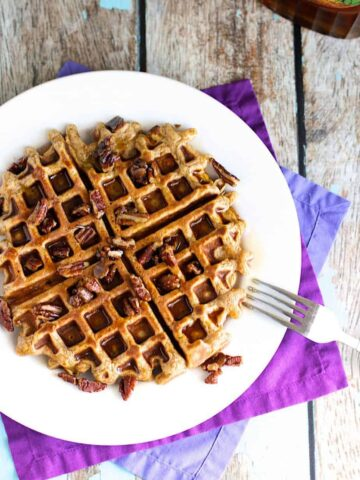 Sweet Potato Waffles with Candied Pecans | A Nerd Cooks