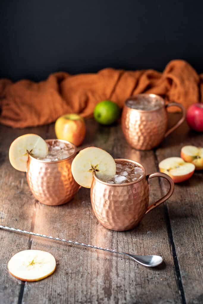 three caramel apple moscow mules