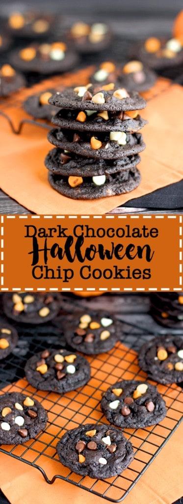Dark Chocolate Halloween Chip Cookies | A Nerd Cooks