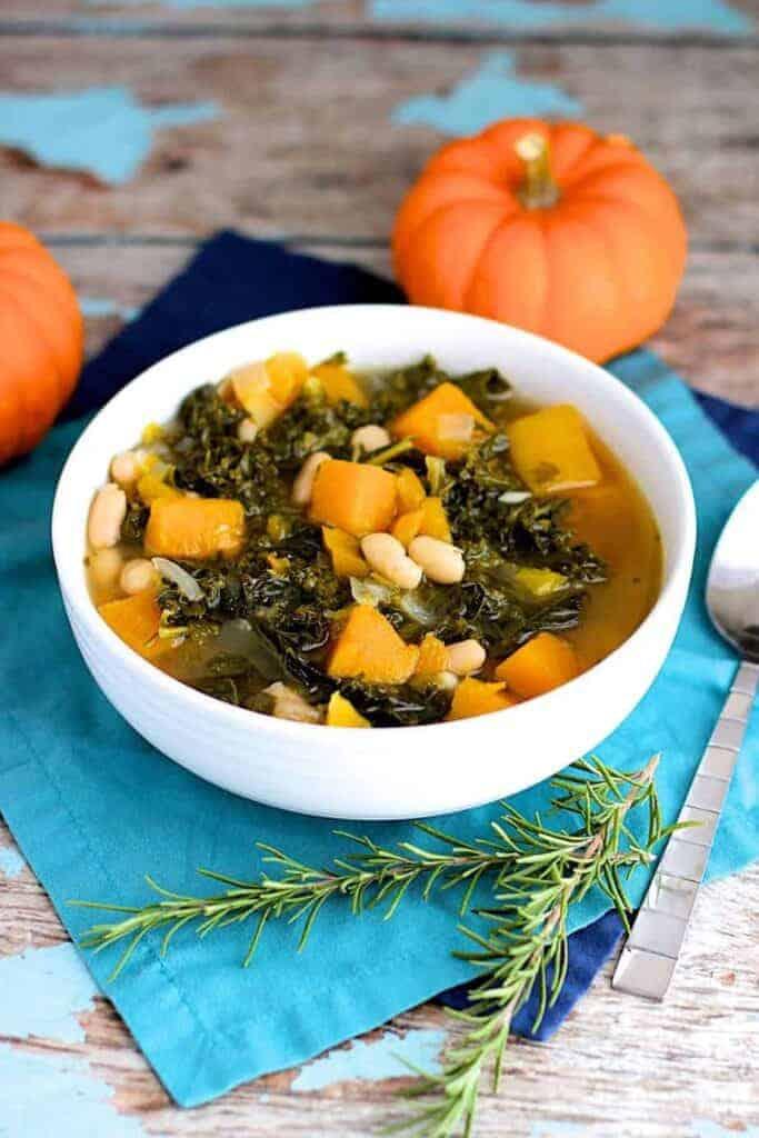 Butternut Squash, Kale, & White Bean Soup | A Nerd Cooks