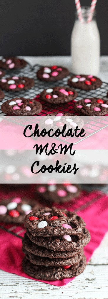 Double Chocolate M&M Cookies | A Nerd Cooks