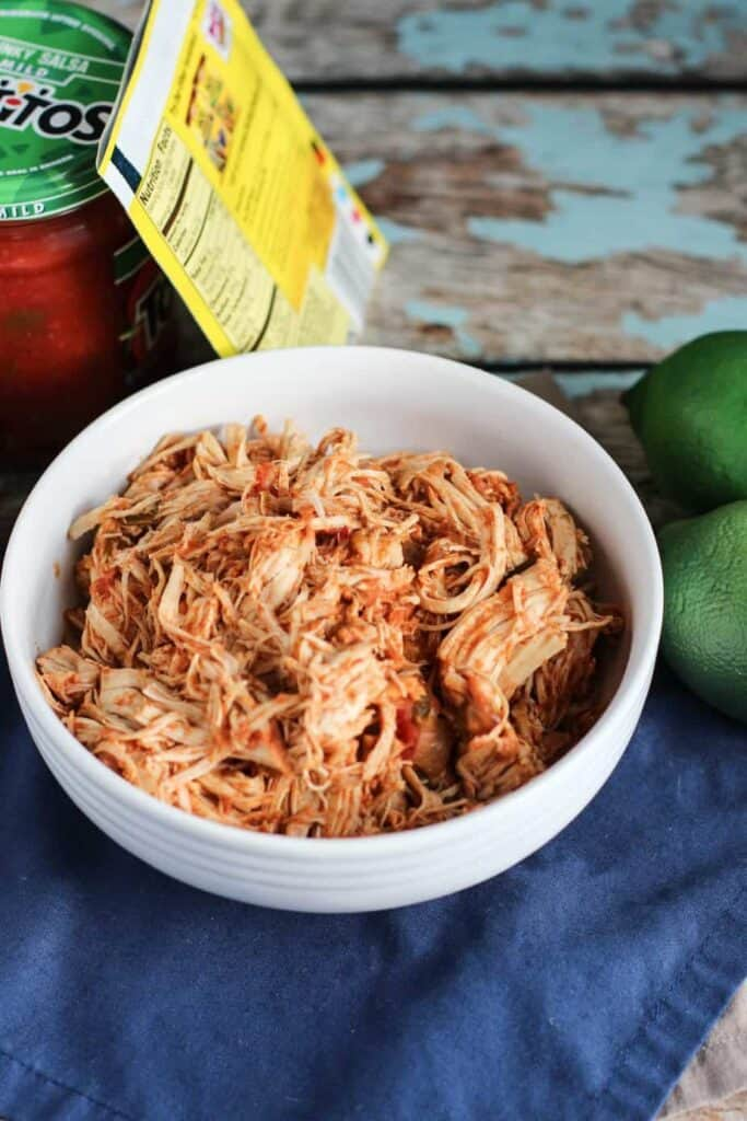 Three Ingredient Slow Cooker Taco Chicken | A Nerd Cooks