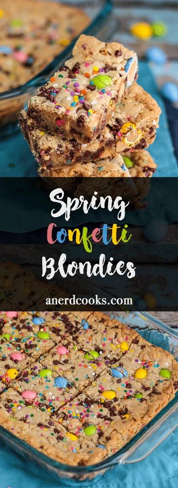 Spring Confetti Blondies | A Nerd Cooks