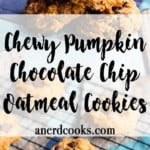 Pumpkin Chocolate Chip Oatmeal Cookies | A Nerd Cooks