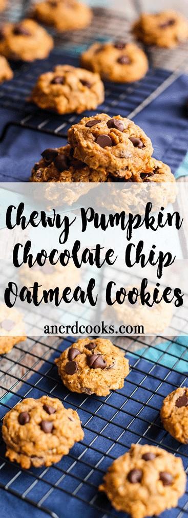 Pumpkin Chocolate Chip Oatmeal Cookies   A Nerd Cooks