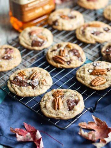 Maple Bourbon Chocolate Chunk Pecan Cookies | A Nerd Cooks