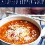 Slow Cooker Stuffed Pepper Soup | A Nerd Cooks
