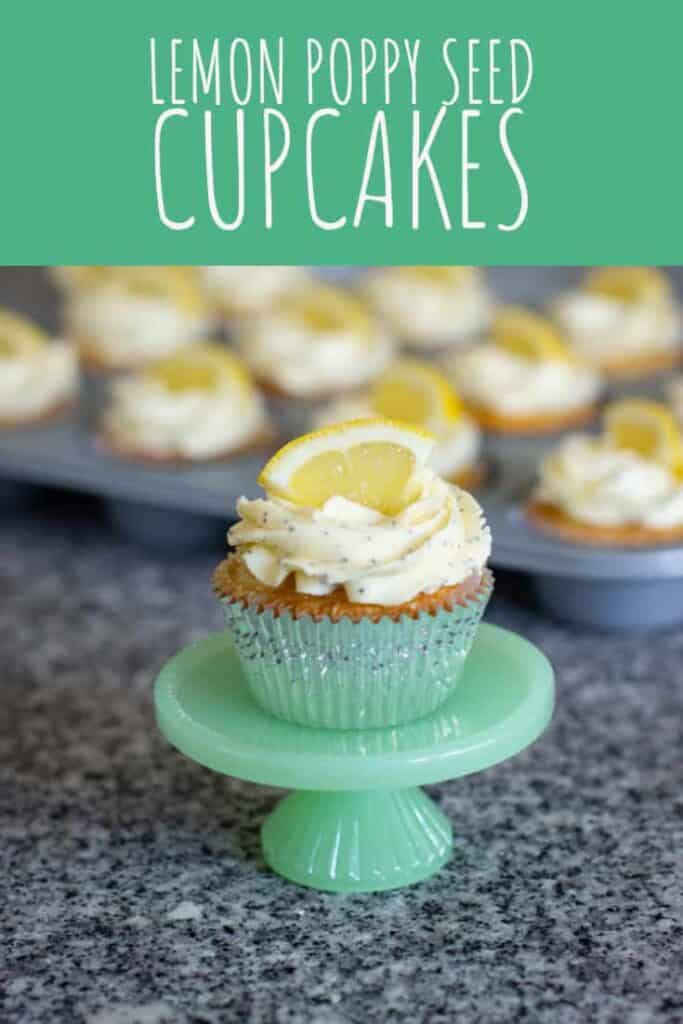These Lemon Poppy Seed Cupcakes feature tender yellow cake, zingy lemon curd, and sweet buttercream studded with poppy seeds. #lemon #poppyseed #cupcakes #cake