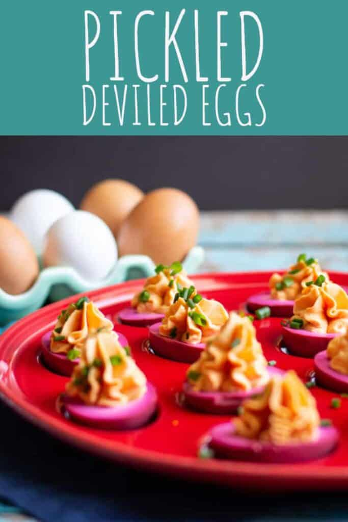 These pickled deviled eggs are beautiful and delicious. #eggs #deviledeggs #appetizer