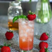 Strawberry Basil Vodka Collins