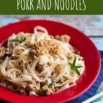 pinterest pin for thai basil pork and noodles