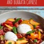 pinterest pin for nectarine and burrata caprese salad