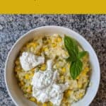 pinterest pin for corn and jalapeno risotto