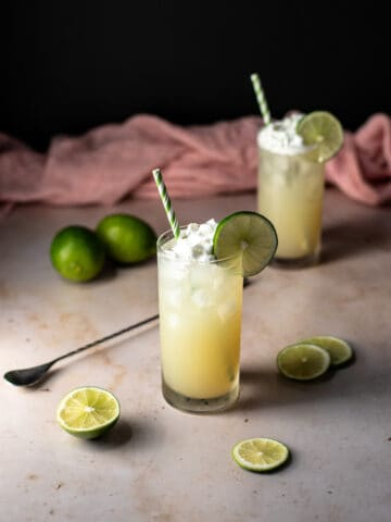 two key lime pie crush cocktails with straws