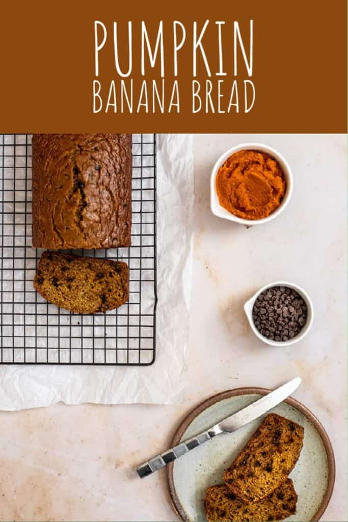 pinterest pin for pumpkin banana bread