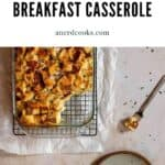 pinterest pin for english muffin breakfast casserole