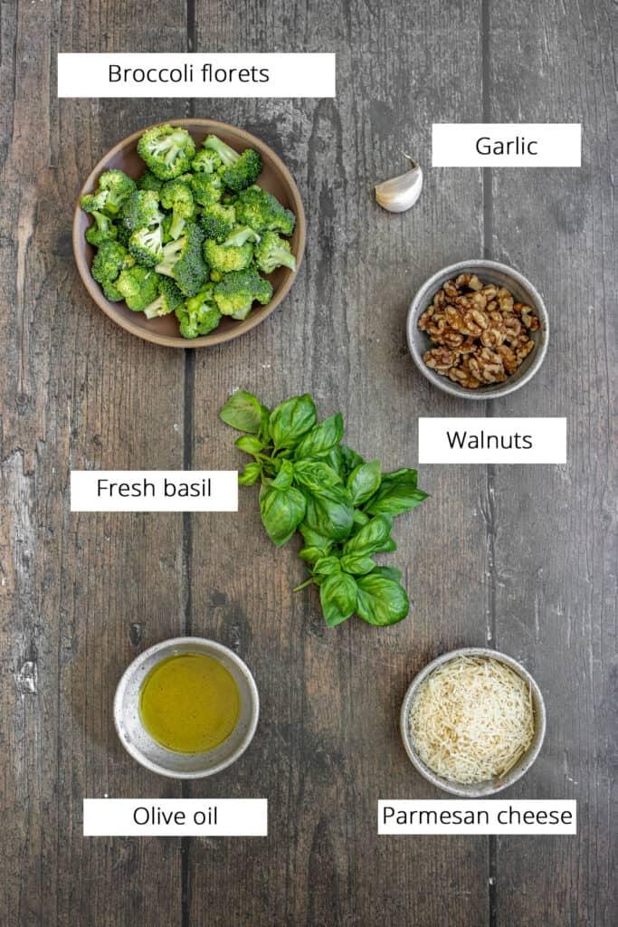 ingredients to make broccoli pesto pasta