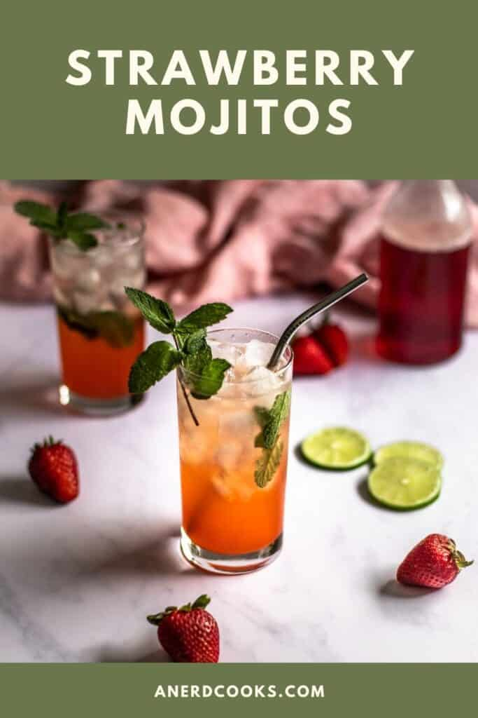 pinterest pin for strawberry mojitos