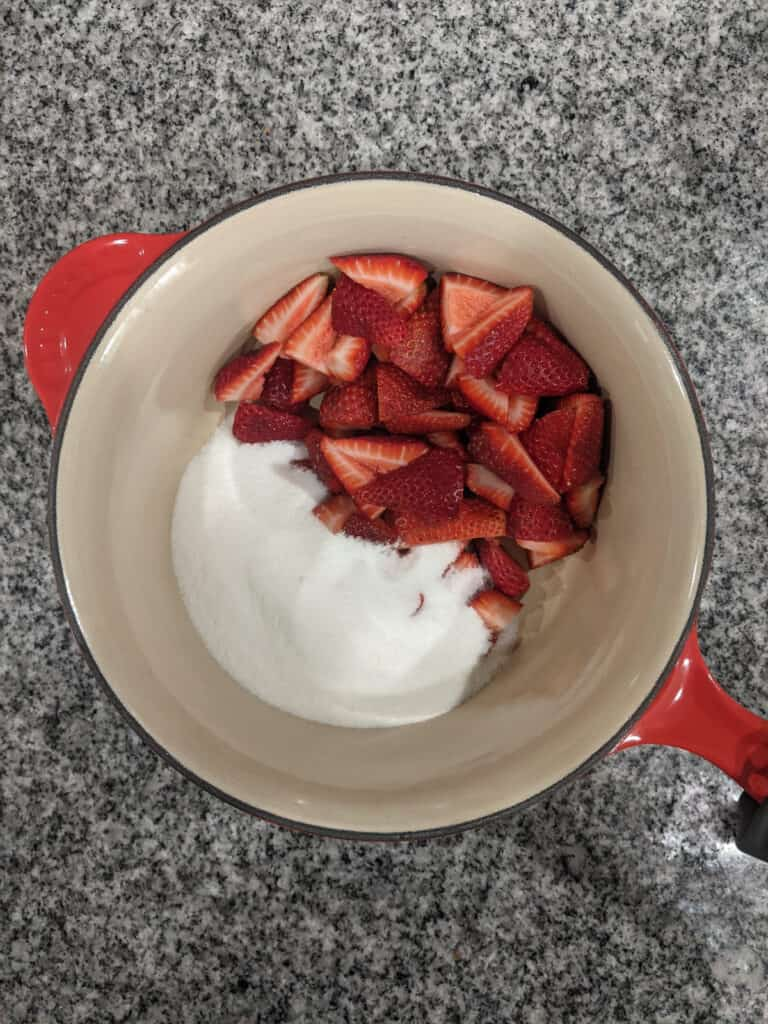 step by step photo for making strawberry simple syrup