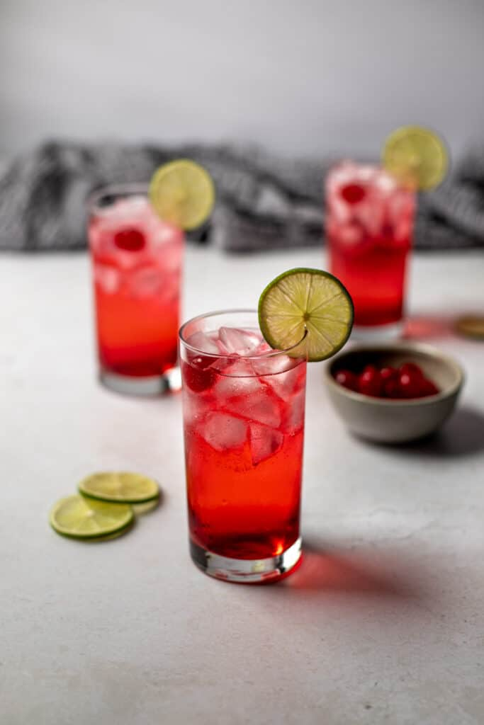 side view of 3 dirty shirley cocktails