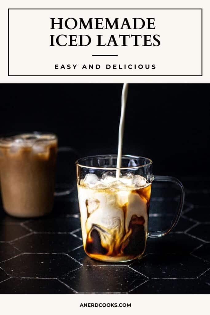 pinterest pin for iced lattes