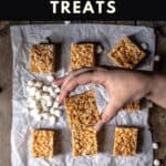 pinterest pin for peanut butter rice krispie treats