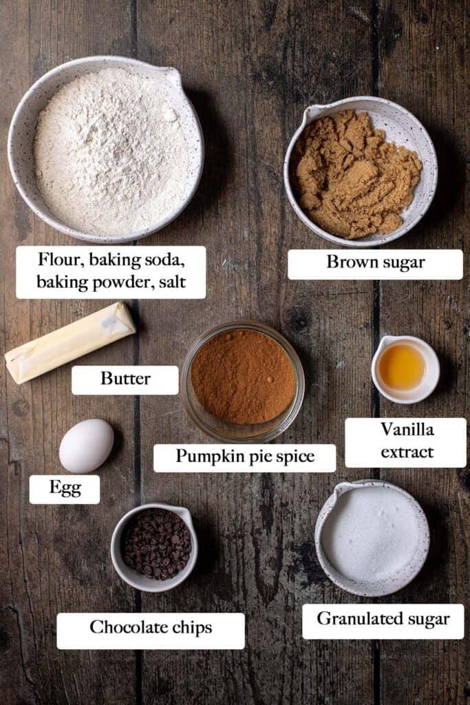 ingredients to make pumpkin spice chocolate chip cookies