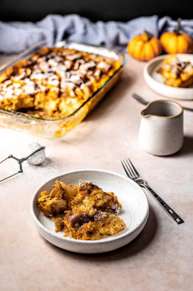 a plate of pumpkin french toast casserole