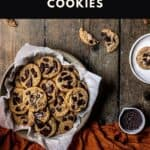 pinterest pin for pumpkin spice chocolate chip cookies