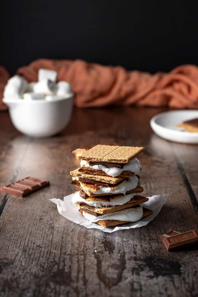 a straight on view of a stack of s'mores